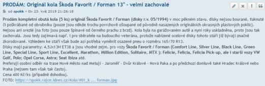 Prodám originál kola Škoda Favorit / Forman 13