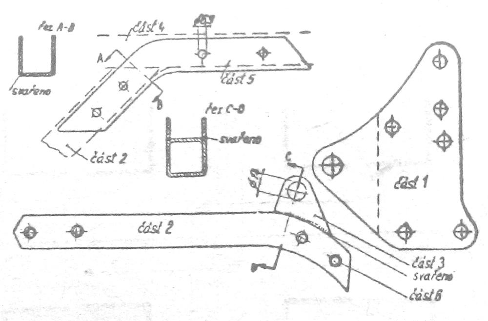 Výztuha rámu Jawa-ČZ 350 pro provoz se sidecarem